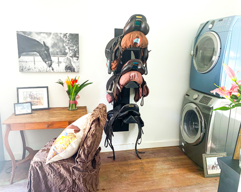 Tack room with laundry